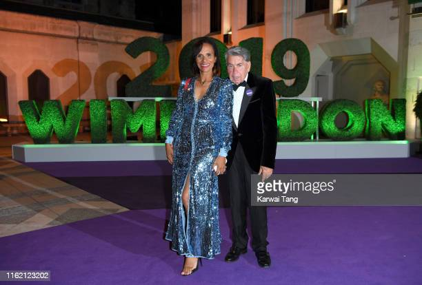 Claudia Rodriguez and Manuel Santana attend the Wimbledon Champions Dinner at The Guildhall on July 14 2019 in London England