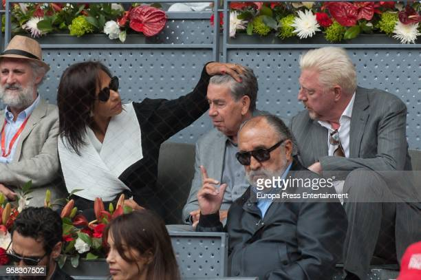 Claudia Rodriguez Manolo Sanana and Boris Becker during day seven of the Mutua Madrid Open tennis tournament at the Caja Magica on May 11 2018 in...