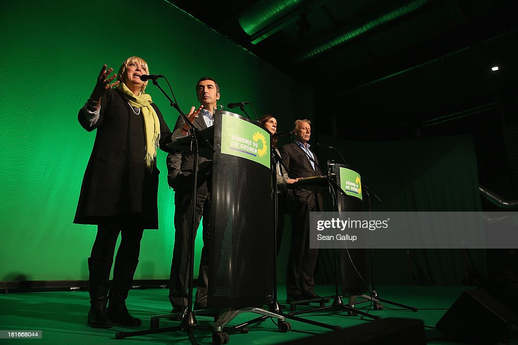 Claudia Roth and Cem Oezdemir, leaders of the German Greens Party (Buendnis 90/Die Gruenen) and Greens Party lead candidates Katrin Goering-Eckardt and Juergen Trittin speak to the media on the first day after German federal elections on September 23, 2013 in Berlin, Germany. The Greens faired poorly in the elections, coming in at 8.4%. The German Christian Democrats (CDU), who finished with 41.5% of the vote, are just shy of a majority of seats in the Bundestag. The CDU will now face the task of finding a coalition partner, which is complicated by the failure of its current partner, the German Free Democrats (FDP), to stay above the 5% necessary to retain its Bundestag seats, and analysts see either a coalition between the CDU and the German Social Democrats (SPD) or the CDU and the Greens as the only viable options.