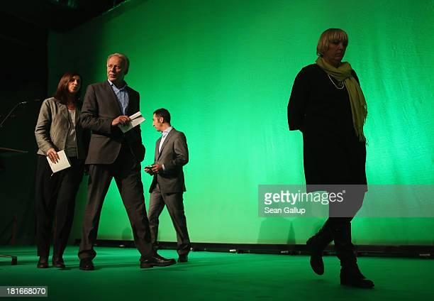 Claudia Roth and Cem Oezdemir leaders of the German Greens Party and Greens Party lead candidates Katrin GoeringEckardt and Juergen Trittin depart...