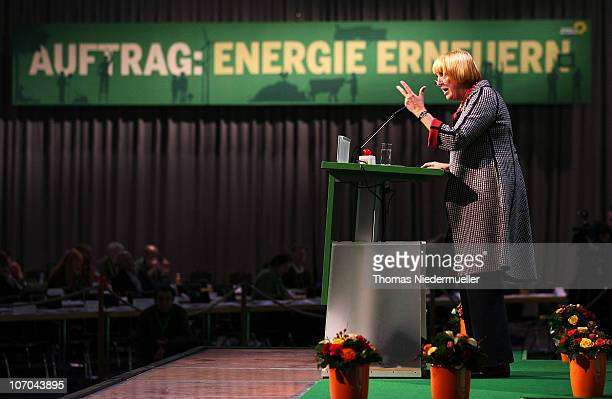 Claudia Roth chairman of the Green Party speaks at the Greens Party national convention on November 21 2010 in Freiburg Germany The German Greens...