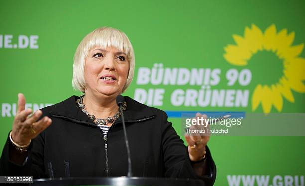 Claudia Roth coleader of the German Green Party speaks to the media after a Greens Party leadership meeting at Greens Party headquarters on November...
