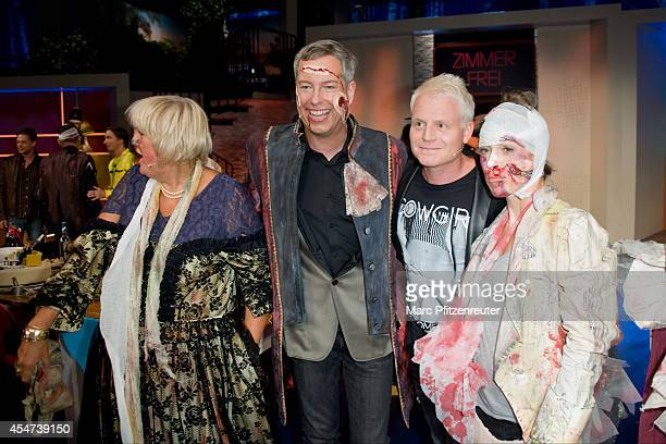 Claudia Roth Martin Reinl Guido Cantz and Anneke Kim Sarnau attend the 'Zimmer frei ab 18' TV Show at the WDR Studio on September 05 2014 in Cologne...