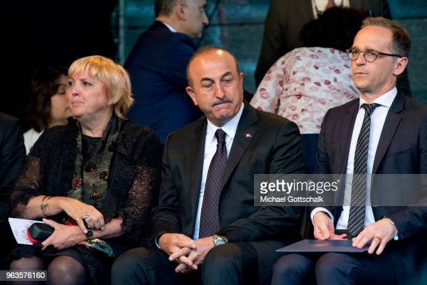 Claudia Roth member of German Parliament Bundestag Mevlut Cavusoglu Foreign Minister of Turkey and German foreign minister Heiko Maas during the...