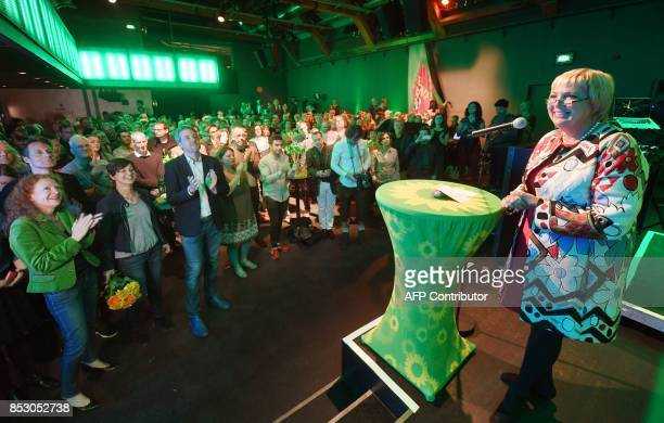Claudia Roth of the Green party addressses supporters after exit poll results were broadcasted on public television at an election night event in...