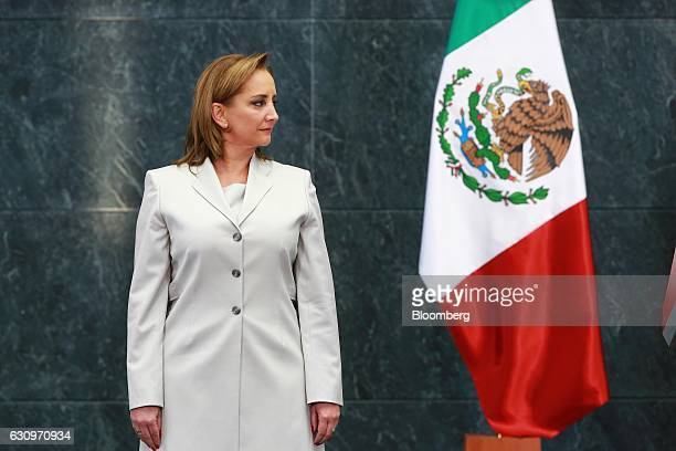 Claudia Ruiz Massieu Salinas Mexico's former minister of foreign affairs stands during a press conference at the Los Pinos presidential residence in...