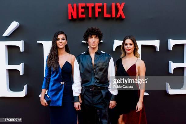 Claudia Salas Jorge Lopez and Georgina Amoros attend Elite 2nd Season Premiere at Callao Cinema on August 29 2019 in Madrid Spain