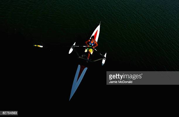Claudia Santos of Brasil rows to the start of the Women's Single Sculls -A- Rowing event at Shunyi Olympic Rowing-Canoeing Park during day four of...
