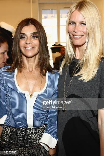 Claudia Schiffer and Carine Roitfeld attend the cocktail for the launch of Claudia Schiffer cashmere collection at Colette on July 5 2011 in Paris...