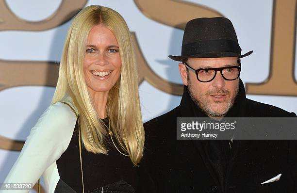 """Claudia Schiffer and director Matthew Vaughn attend the World Premiere of """"Kingsman: The Secret Service"""" at Odeon Leicester Square on January 14,..."""
