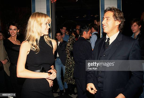 Claudia Schiffer and Gilles Dufour attend a fashion week Party at Les Bains Douches in the 1990s in Paris France