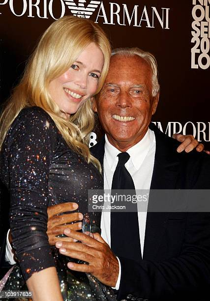 Claudia Schiffer and Giorgio Armani attend Fashion's Night Out At Armani on Bond Street on September 8 2010 in London England