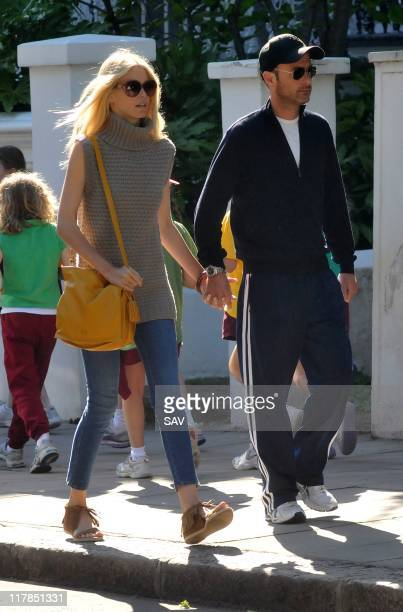 Claudia Schiffer and husband Matthew Vaughn pictured in Notting Hill on July 1 2011 in London England