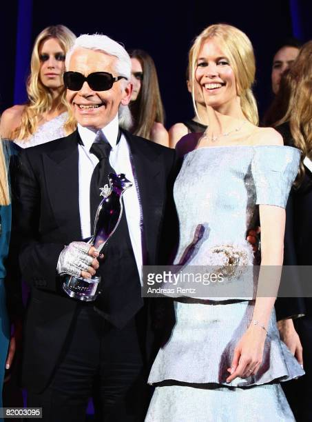 Claudia Schiffer and Karl Lagerfeld attend the ELLE Fashion Star award ceremony during the Mercedes Benz Fashion week spring/summer 2009 at the...
