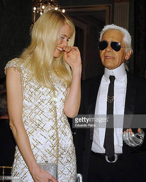 Claudia Schiffer and Karl Lagerfeld during Marie Claire's IV Fashion Prizes Party - November 22, 2006 at Residence of the French Ambassador in...