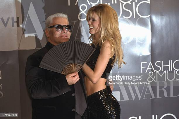 Claudia Schiffer and Karl Lagerfeld get together at the VH1 Fashion Awards at the National Guard Armory