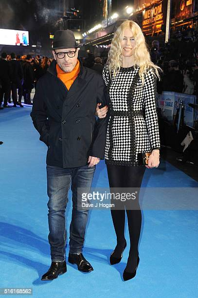 Claudia Schiffer and Matthew Vaughn attend the European premiere of 'Eddie The Eagle' at Odeon Leicester Square on March 17 2016 in London England