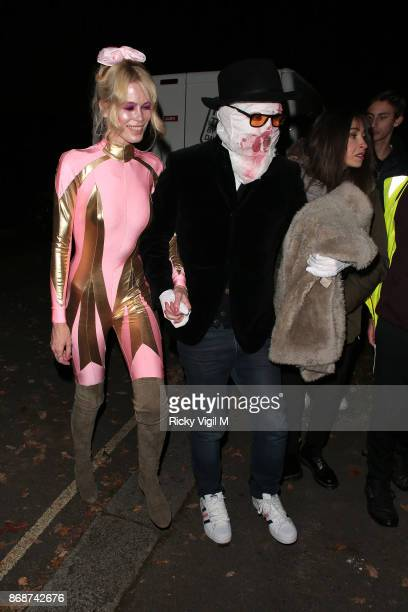 Claudia Schiffer and Matthew Vaughn seen attending Jonathan Ross Halloween party on October 31 2017 in London England