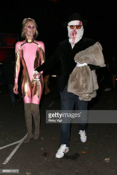 Claudia Schiffer and Matthew Vaughn seen attending Jonathan Ross Halloween party on October 31 2017 in London England
