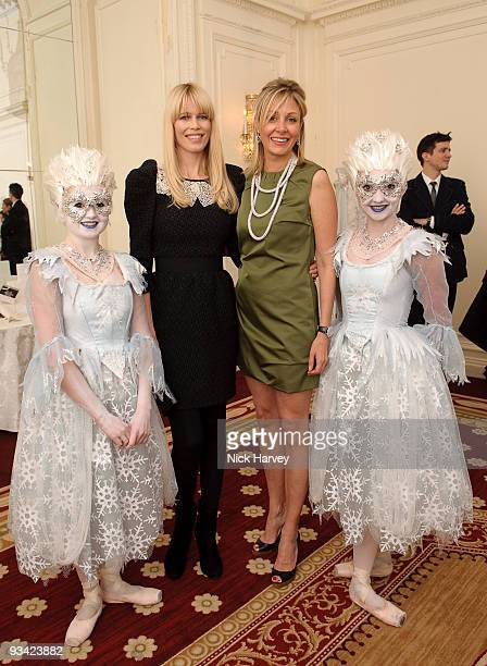 Claudia Schiffer and Nadja Swarovski attend an event to switch on Swarovski's five metre Crystal Snowflake designed by Ingo Maurer at Mandarin...