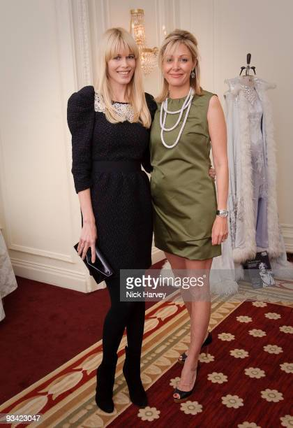 Claudia Schiffer and Nadja Swarovski attends an event to switch on Swarovski's five metre Crystal Snowflake designed by Ingo Maurer at Mandarin...