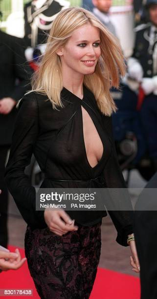 Claudia Schiffer arrives at the Palais des Festivals for the opening movie premiere The Barber of Siberia during the Cannes Film Festival 1999 in...