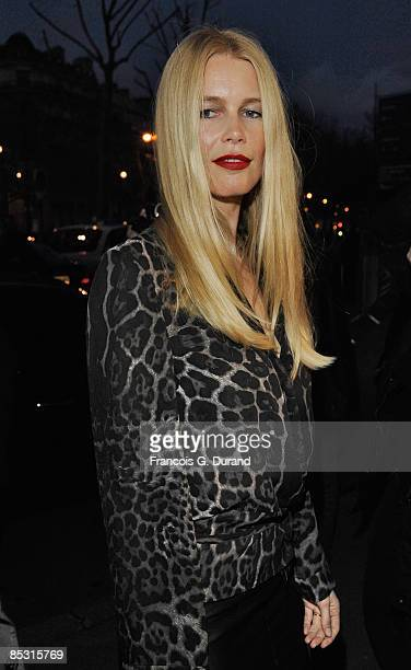Claudia Schiffer arrives at the Yves Saint Laurent ReadytoWear A/W 2009 fashion show during Paris Fashion Week at Palais de Tokyo on March 9 2009 in...