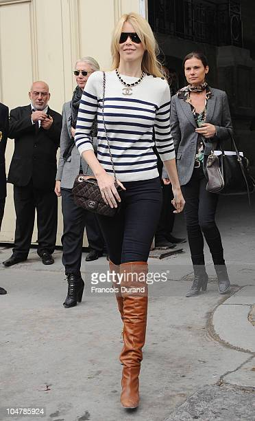 Claudia Schiffer arrives for the Chanel Ready to Wear Spring/Summer 2011 show during Paris Fashion Week at Grand Palais on October 5, 2010 in Paris,...
