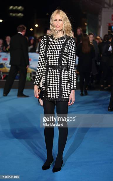 Claudia Schiffer arrives for the European premiere of 'Eddie The Eagle' at Odeon Leicester Square on March 17 2016 in London England