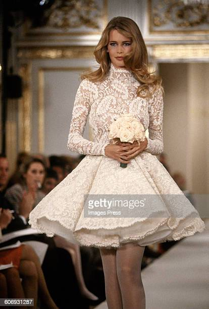 Claudia Schiffer at the Carolyne Roehm Fall 1991 show circa 1991 in New York City