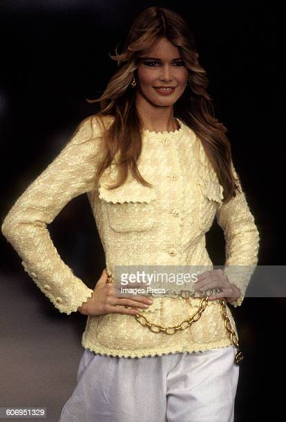 Claudia Schiffer at the Chanel Spring 1993 show circa 1992 in Paris France