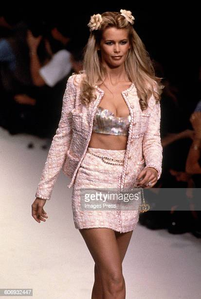 Claudia Schiffer at the Chanel Spring 1995 show circa 1994 in Paris France