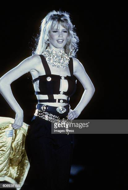 Claudia Schiffer at the Gianni Versace Fall 1992 show circa 1992 in Milan Italy