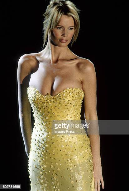 Claudia Schiffer at the Gianni Versace Fall 1995 show circa 1995 in Milan Italy