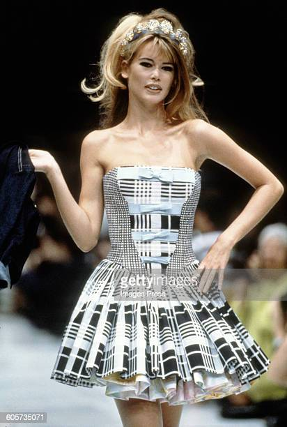 Claudia Schiffer at the Gianni Versace Spring 1992 show circa 1991 in Milan Italy