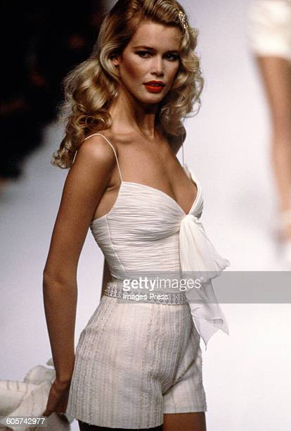 Claudia Schiffer at the Valentino Spring 1995 show circa 1994 in Paris France