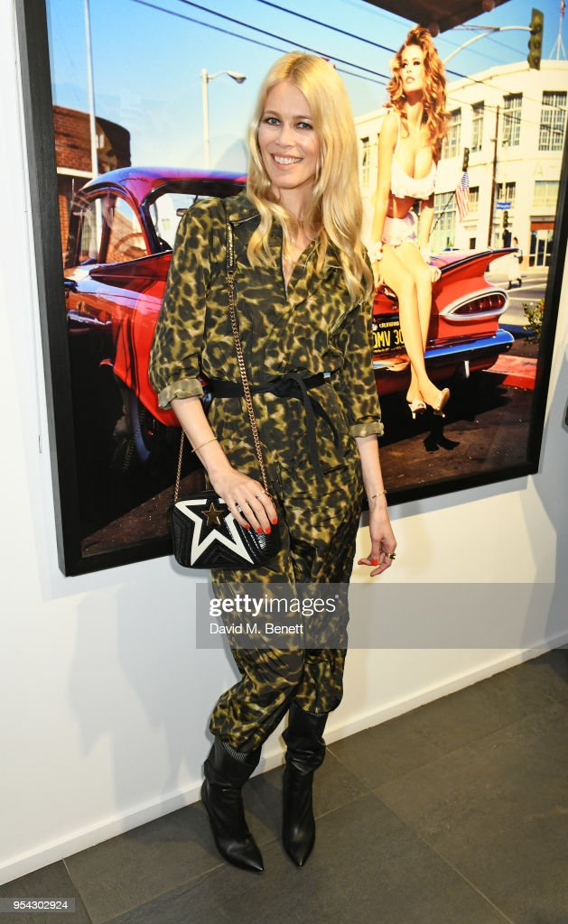 Claudia Schiffer attends a private view of photographer Ellen von Unwerth's exhibition 'Ladyland' at Opera Gallery on May 3, 2018 in London, England.