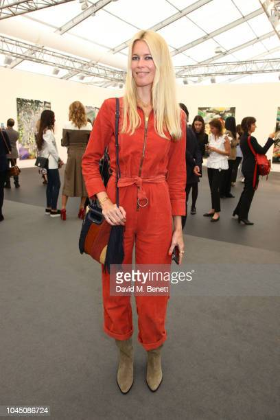 Claudia Schiffer attends a VIP Preview of the Frieze Art Fair in Regents Park on October 3 2018 in London England