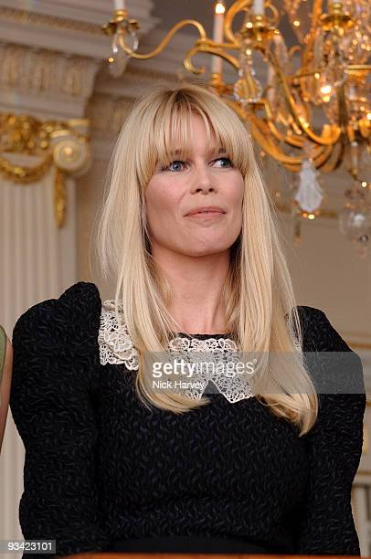 Claudia Schiffer attends an event to switch on Swarovski's five metre Crystal Snowflake designed by Ingo Maurer at Mandarin Oriental Hyde Park on...