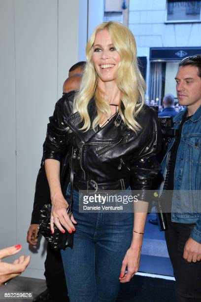 Claudia Schiffer attends her book launch cocktail at Versace Boutique during Milan Fashion Week Spring/Summer 2018 on September 23 2017 in Milan Italy