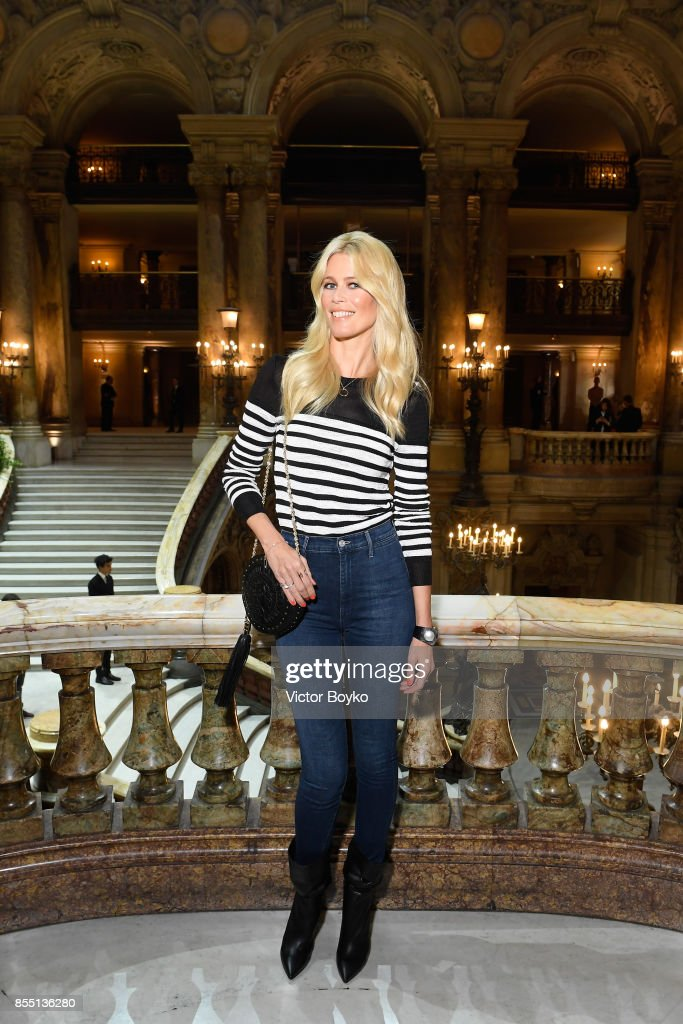Claudia Schiffer attends the Balmain show as part of the Paris Fashion Week Womenswear Spring/Summer 2018 on September 28, 2017 in Paris, France.
