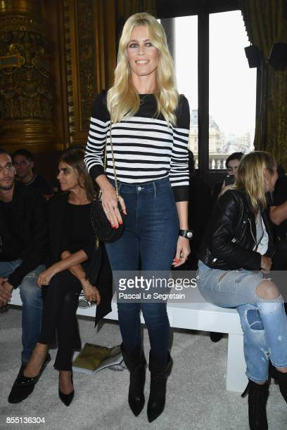 Claudia Schiffer attends the Balmain show as part of the Paris Fashion Week Womenswear Spring/Summer 2018 on September 28 2017 in Paris France