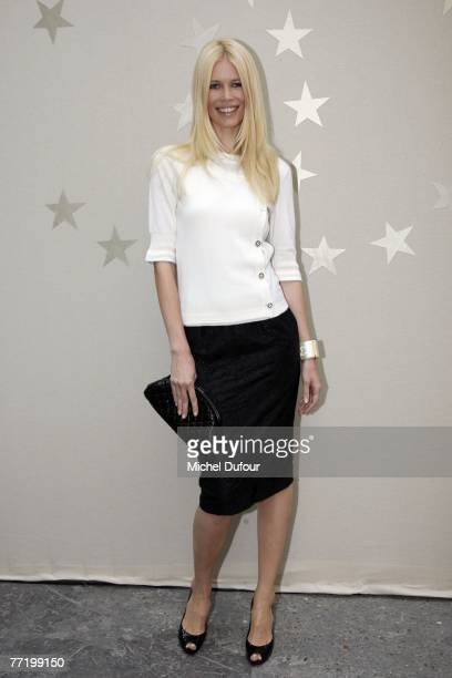 Claudia Schiffer attends the Chanel fashion show during the Spring/Summer 2008 ready-to-wear collection show at Grand Palais on October 5, 2007 in...