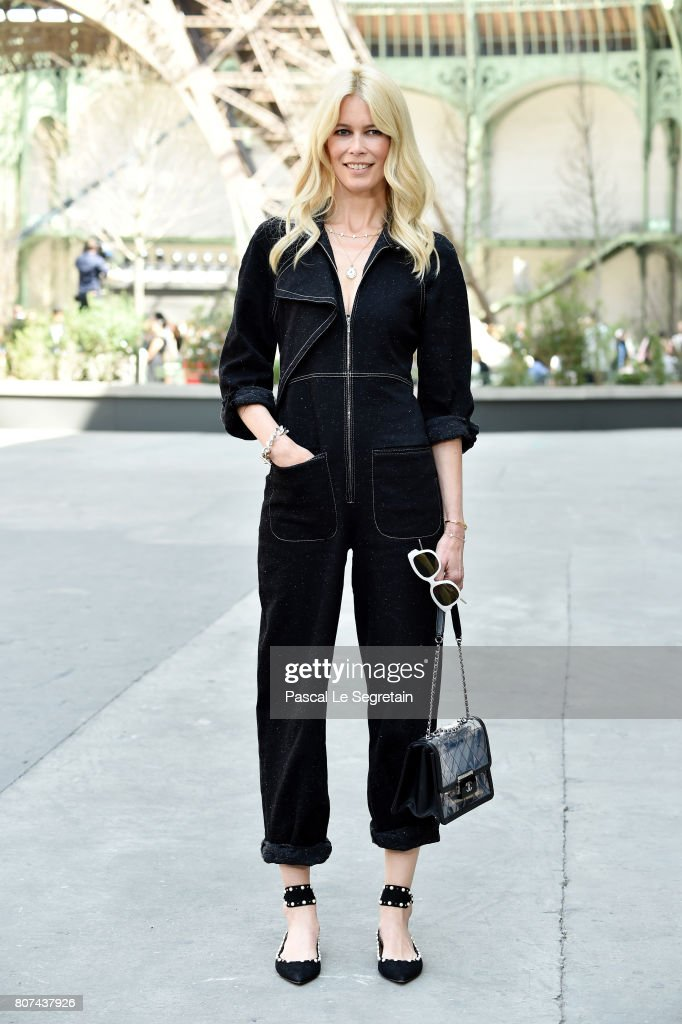 Claudia Schiffer attends the Chanel Haute Couture Fall/Winter 2017-2018 show as part of Haute Couture Paris Fashion Week on July 4, 2017 in Paris, France.