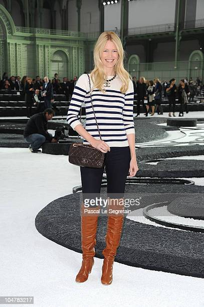 Claudia Schiffer attends the Chanel Ready to Wear Spring/Summer 2011 show during Paris Fashion Week at Grand Palais on October 5, 2010 in Paris,...