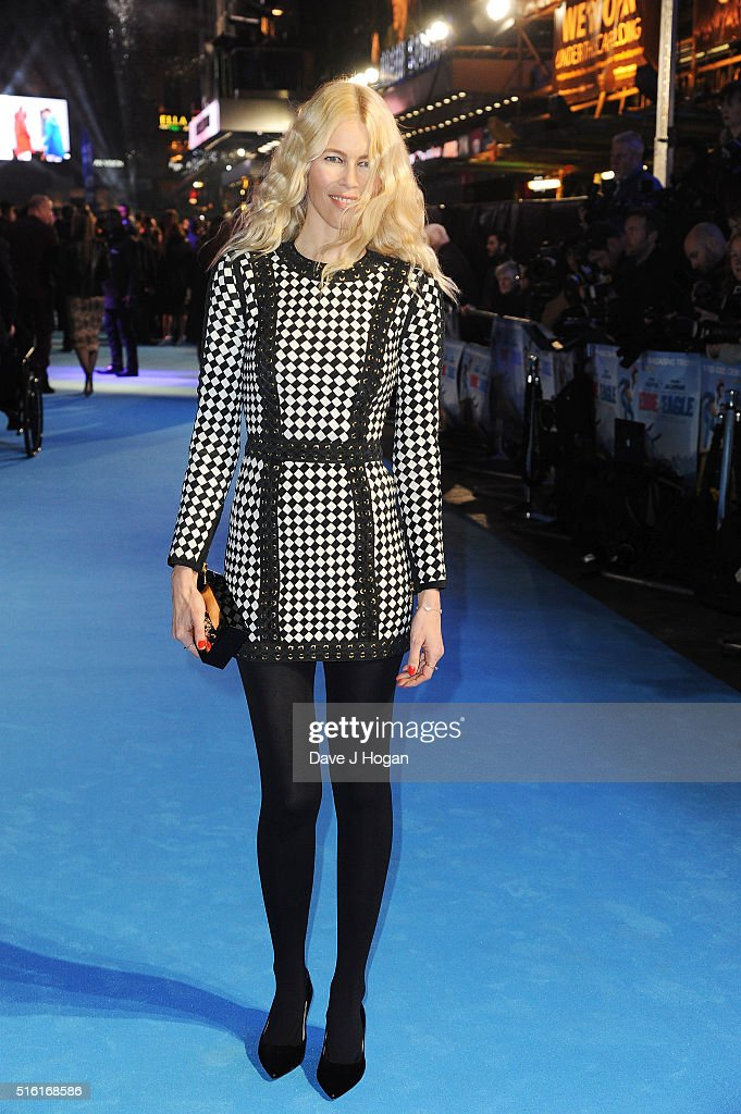 Claudia Schiffer attends the European premiere of 'Eddie The Eagle' at Odeon Leicester Square on March 17, 2016 in London, England.