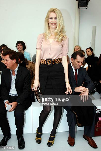Claudia Schiffer attends the Roland Mouret Fashion show during Paris Fashion Week SpringSummer 2008 on January 23th 2008 in Paris France