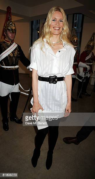 Claudia Schiffer attends the VIP private view of 'Mario Testino Obsessed By You' at Phillips de Pury Company on July 2 2008 in London England