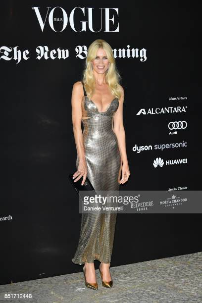Claudia Schiffer attends theVogue Italia 'The New Beginning' Party during Milan Fashion Week Spring/Summer 2018 on September 22 2017 in Milan Italy