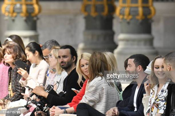 Claudia Schiffer Guillaume Gouix Lily Taieb and LilyRose Depp attend the Chanel Cruise Collection 2020 at Grand Palais on May 03 2019 in Paris France